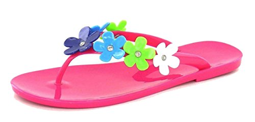 i-Smalls Ladies Girls Flowered Toe Post Flip Flops by Spot on in White & Pink Fuschia wCAO9
