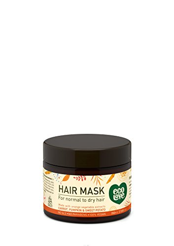 ecoLove - Deep Conditioning Hair Mask for Dry Damaged Hair with Organic Carrot Pumpkin & Sweet Potato Vegan & Cruelty Free Hair Treatment Mask,11.8fl Oz 350ml