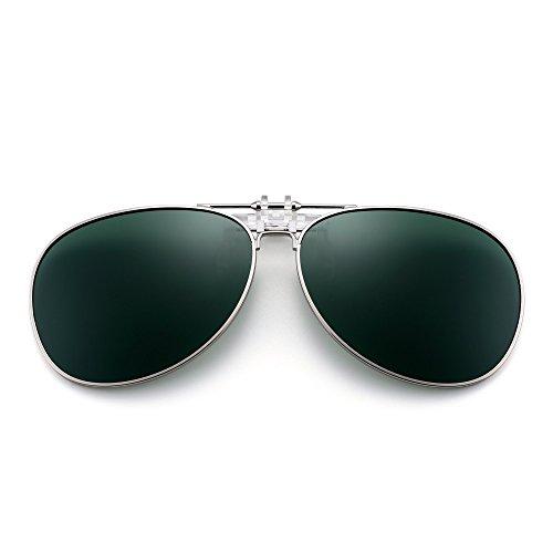 Clip de Polarizadas Hombre Plateado Aviador Anteojos Retro Gafas Polarizado up Sol en Verde Flip Lentes Conducir wI7g7qdC