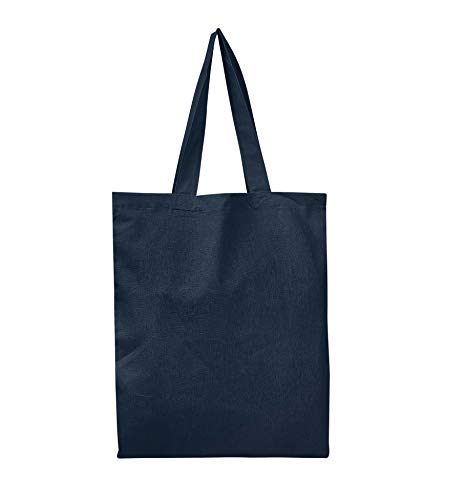 SET OF 6 - Reusable 100% Cotton Canvas Tote Bags By BagzDepot | Convenient & Environmentally Friendly Grocery & Shopping Bags | Budget Friendly, Wholesale, Thick Bags (Navy)