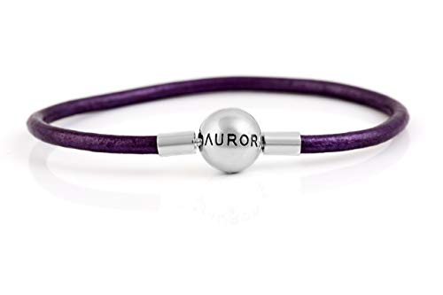 (Brand new Aurora Plain Purple Genuine Leather Charm Bracelet with round sterling silver Clasp & optional Stopper S925, Purple Leather bracelet & Stopper, Leather Jewellery for man, fits Pandora)
