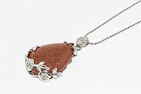 BRCbeads Beautiful Wire Wrap Gold Sand Stone Teardrop Dangle Bead Pendant 28x38mm 1pcs per Bag for Necklace - Crystal Wrap Necklace