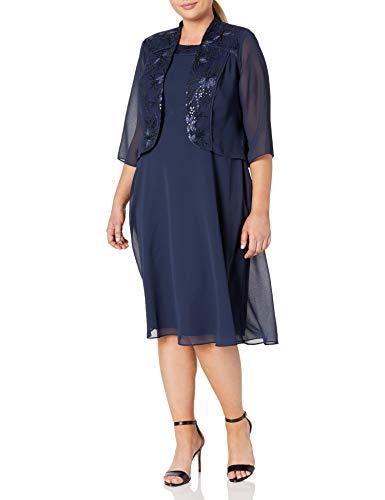 Le Bos Women's Plus Size Floral Glitter Jacket Dress, Navy, 18W