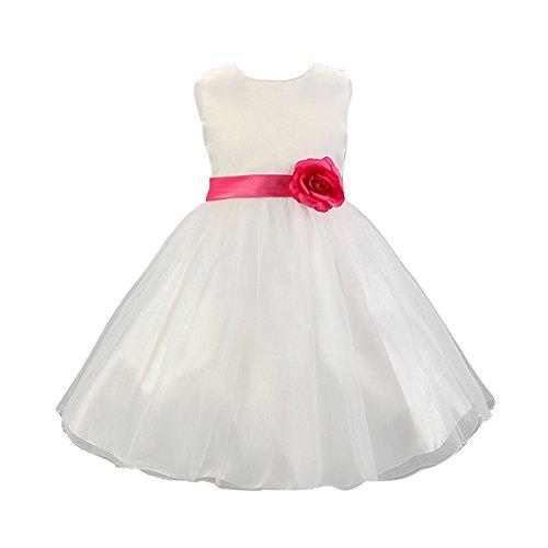 Free Fisher - Vestido Blanco de Princesa Fiestas Boda para Niñas Vestidos Elegantes de Noche: Amazon.es: Ropa y accesorios