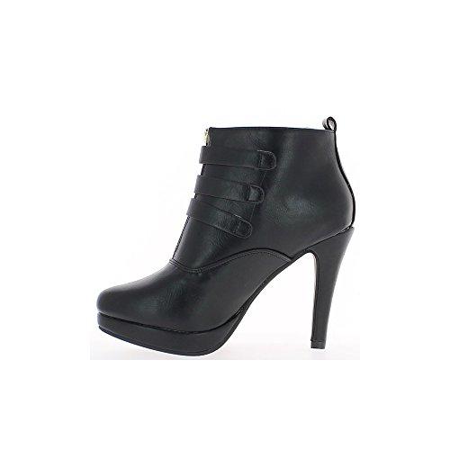 Schwarze Damen Stiefel Ferse, 10cm und Platform 3 dünne Flansche