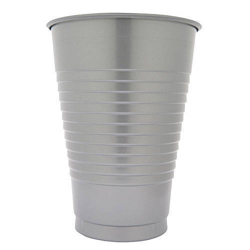 16 oz Silver Plastic Cups, 20 Pack