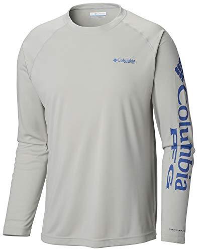 Columbia Men's Terminal Tackle Heather Long Sleeve Shirt, Cool Grey Heather, Vivid Blue Logo, Large