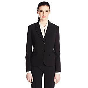 Nine West Women's Two Button Bi Stretch Notch Suit Jacket, Black, 14