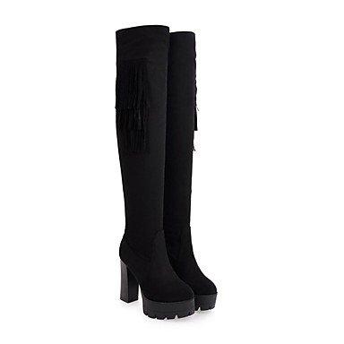 RTRY Zapatos De Mujer De Cuero De Nubuck Moda Invierno Botas Botas Chunky Talón Puntera Redonda Thigh-High Borla Botas Para Vestimenta Casual Caqui Gris Negro US8 / EU39 / UK6 / CN39