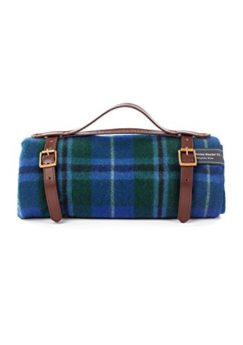 (The Tartan Blanket Co. Recycled Wool Picnic Blanket with Brown Leather Strap (Douglas))