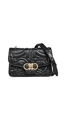 Salvatore Ferragamo Women's Gancino Quilting Small Shoulder Bag, Nero, One ()