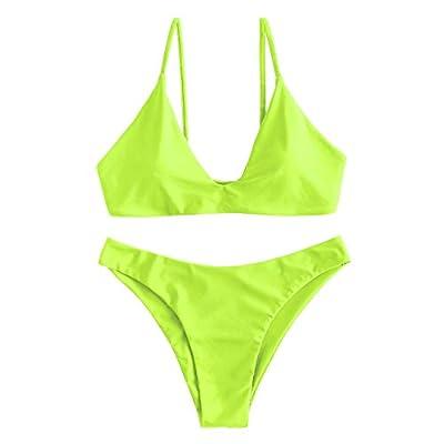 ZAFUL Women Solid Lace-Up Bikini Set Sporty Padded Bralette Swimsuit Bathing Suit