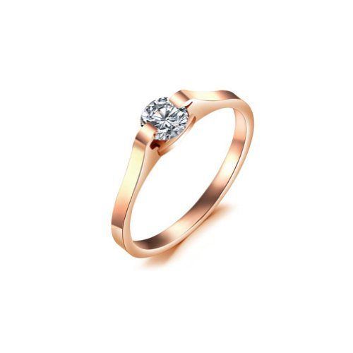 MINIBLUE Rose Gold Plating 316L Titanium Steel Rings Cubic Zirconia One-Stone With High-Grade Box and VIP Card Size 6 US