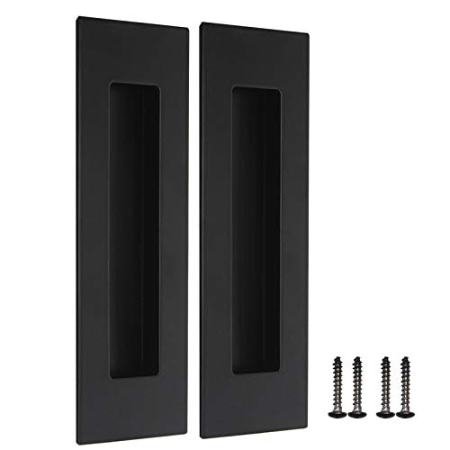 "2 Pack Black Recessed Door Pull Stainless Steel Recessed Finger Pulls Rectangular Flush Pocket Door Pull 6"" Outer Length 2"" Outer Width"