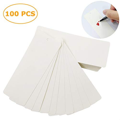 100 Pack Blank Bookmarks to Decorate - DIY Crafts White Bookmarks with Hole for String or Tassel]()