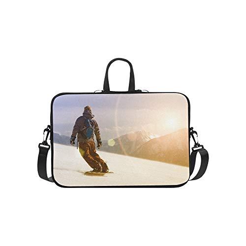 (Snowboarder Jumping Through Air Pattern Briefcase Laptop Bag Messenger Shoulder Work Bag Crossbody Handbag for Business Travelling)