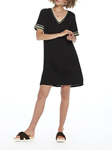 Ribs Femme with Neck Dress Noir amp; Short Robe Scotch 08 Soda Black Sporty Lurex Sleeve V vnpW7