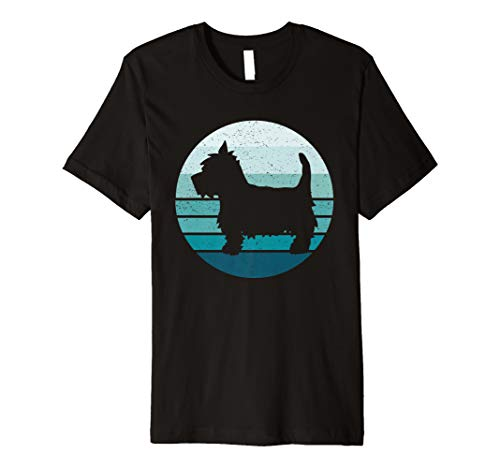 Mens Retro Yorkie Moon Yorkshire Terrier Silhouette Vintage Premium T-Shirt