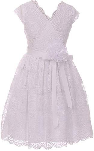 White Big Girls Floral Design Lace Easter/Spring Dress Sizes 10 -