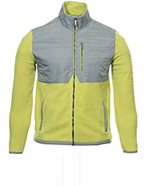 Calvin Klein Men's Yellow Green Color Block Fleece Jacket