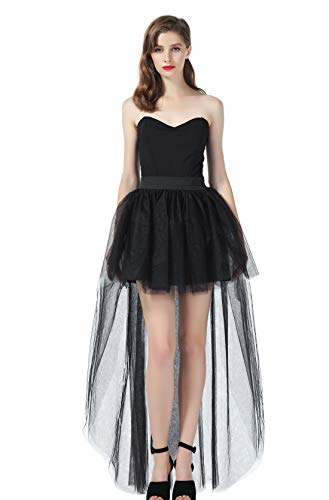 High Low Tulle Skirt Steampunk Asymmetrical Overskirt for Women Wedding Evening Black L