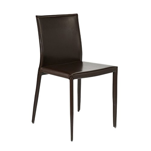 Eurostyle Shelby Brown Leather Dining Side Chair