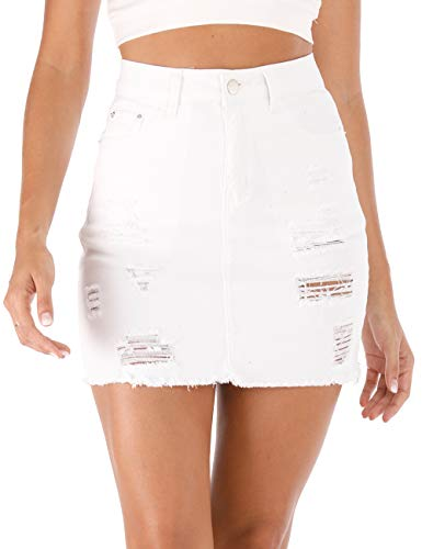 Haola Women's Casual Distressed Fray Hem Ripped A-Line Denim Short Skirt White M