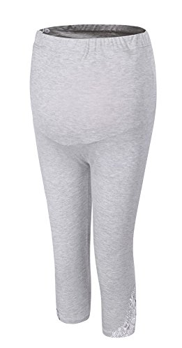(Foucome Lace stitching High Waist Ultra Soft Maternity capri leggings over the Belly Light Gray)