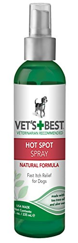 Vet's Best Dog Hot Spot Itch Relief Spray | Helps Soothe Dog Dry Skin, Rash, Scratching, Licking, Itchy Skin, and Hot Spots | No-Sting & Hydrocortisone Free | 8oz