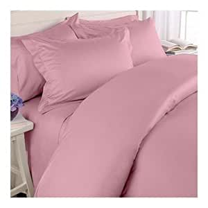 "600 TC ULTRA SOFT SILKY 100% EGYPTIAN COTTON 4 PIECE LUXURIOUS SHEET SET WITH 24"" EXTRA DEEP POCKET TWIN XL PINK SOLID BY PEARLBEDDING"