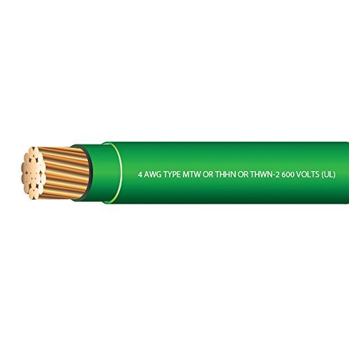 4 AWG Stranded THHN Green Wire - 50 Feet - 600 Volt 90C - Made in USA!