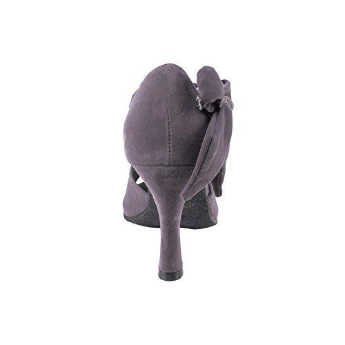 Party Party Velvet Evening Dress Pump Collections, Comfort Wedding Shoes: Women Ballroom Dance Shoes, Medium Heel, Tango, Smooth, Standard 7010-grey