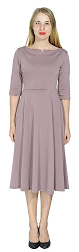 (Marycrafts Women's Fit Flare Tea Midi Dress for Office Business Work 20 Light)