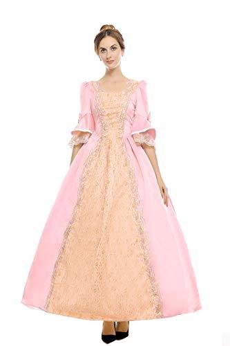 ROLECOS Womens Royal Retro Medieval Renaissance Dresses Lady Satin Masquerade Dress (Custom Size, Pink)