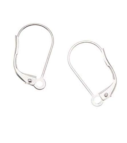 Wire Earrings Long Bead - 100pcs Top Quality Hypoallergenic Earring Hooks Leverback Ear Wires Earwire 19mm Long Sterling Silver Plated Brass CF195