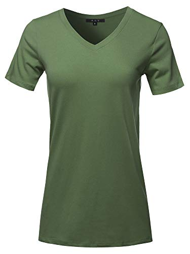 Basic Solid Premium Cotton Short Sleeve V-Neck T Shirt Tee Tops Army Green 2XL