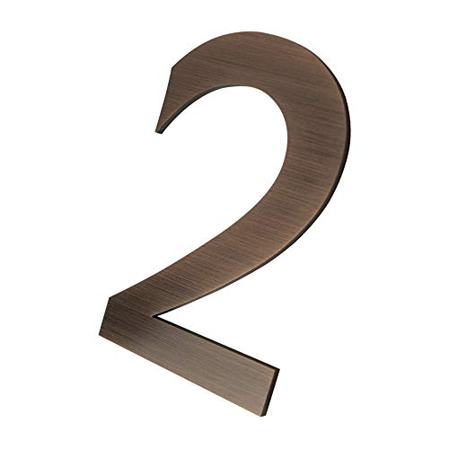 4 Inch Self Adhesive Stainless Steel Metal House Address Number 2 Sticker for Home Door - Bronze by CANDIKO