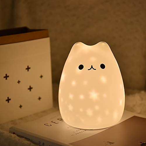 LED Bedside lamp Silicone Nightlight Multi Colors Star Projector for Kids,USB Recharge and Batteries Powered for Nursery, Bedroom ()