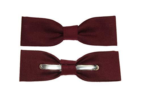 amy2004marie Boys Skinny Slim Burgundy Red Clip On Cotton Bow Tie