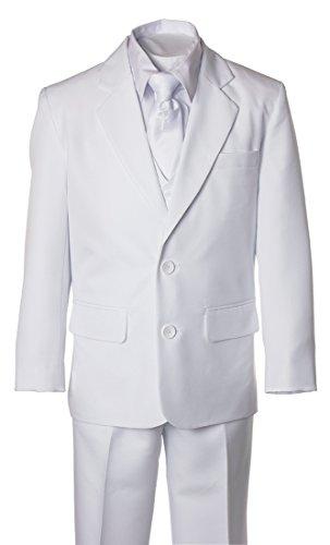 Boys White Suit with Religious Cross Neck Tie