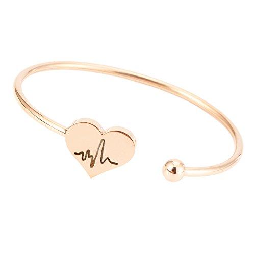 REEBOOO Nurse Bracelet,Heart Beat Bracelet, Stethoscope Necklace,Nursery Graduation Gift, Nurse Doctor Gifts (Bangle Rose Gold)
