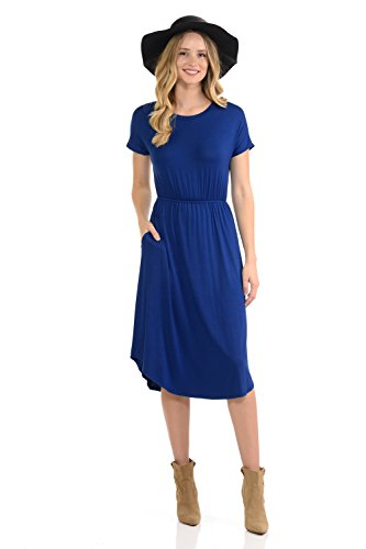 iconic luxe Women's Short Sleeve Flare Midi Dress with Pockets Medium Royal Blue