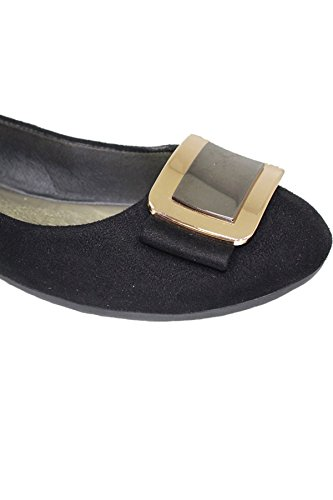 Pump Faux Black Buckle BOUTIQUE II Shoes Accent Smart Suede FLH883 Flat SAPPHIRE Madalyn Fashion 7TaqnxCgTw
