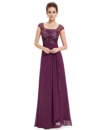 Ever Pretty Cap Sleeve Illusion Neckline Evening Dress 08550