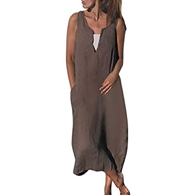 JustWin Women's Sleeveless Dress V-Neck Sleeveless Solid Color Cotton and Linen Long Loose Casual Dresses with Pockets