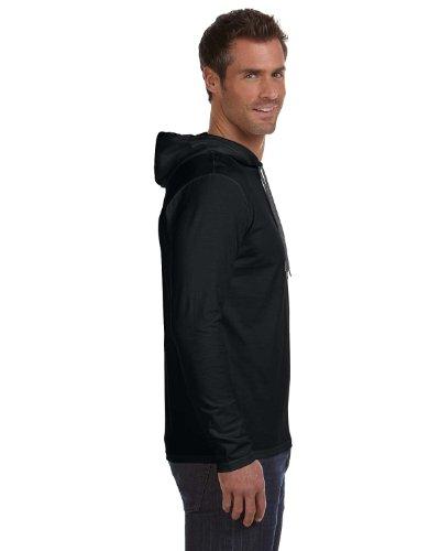 Anvil–Maglietta leggera a maniche lunghe con cappuccio–�?87, Uomo, Black/Dark Grey, M