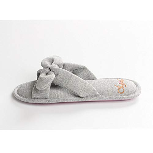 Slippers Grey Solid Women's Toe Bowknot Open Indoor JadeRich Cloth x0gwq8nd5