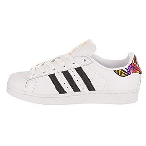 adidas Originals Women's Superstar W Sneaker, Ftwr White, Core Black, Gold Met, 8 M US