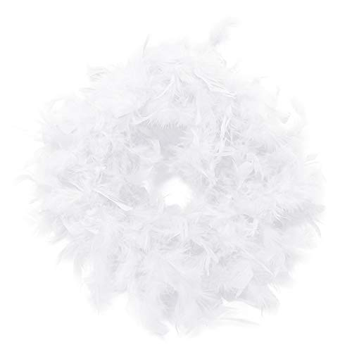 Boshen 2 Yard 6 FT Colorful Natural Feather Boas Chandelle Boas for Dressup Costume Wedding Party Decor 40-45g White 40g Chandelle Feather Boa