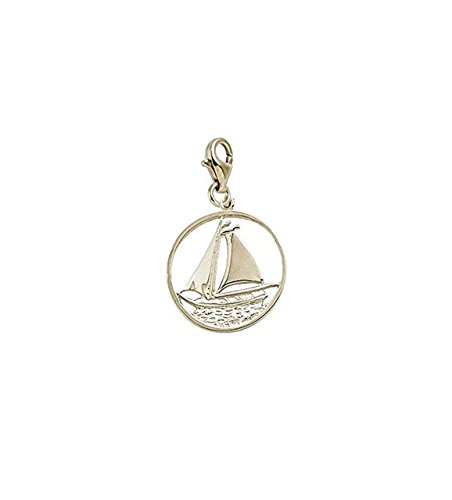 14K Yellow Gold Sail Boat Charm With Lobster Claw Clasp, Charms for Bracelets and Necklaces 14k Yellow Gold Sailboat Charm